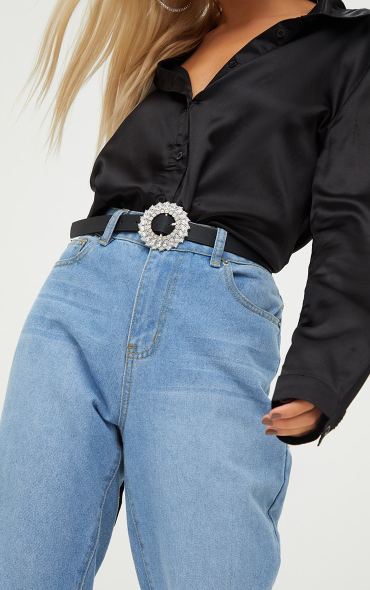 Black Diamante Circle Skinny Belt 3