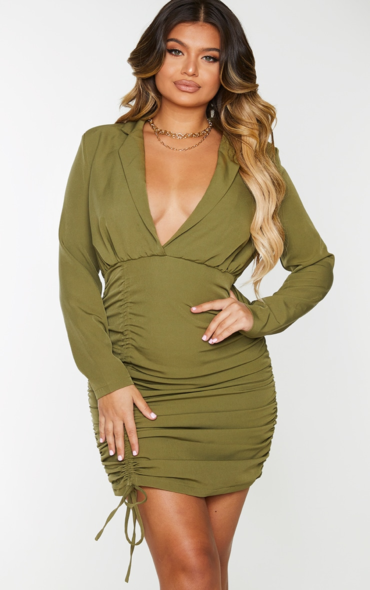 Olive Woven Ruched Deep Plunge Blazer Dress 1