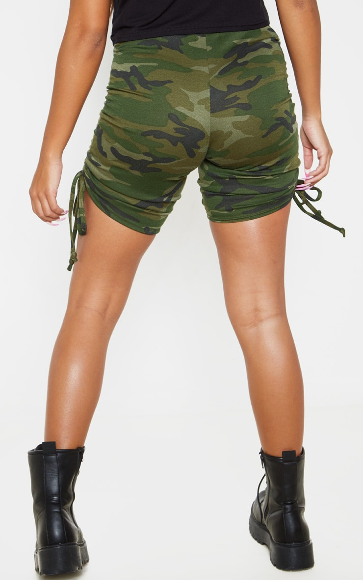 Khaki Camo Print Ruched Side Cycle Short 4