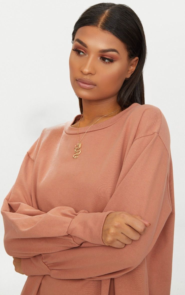 Deep Peach Oversized Sweater Dress 5