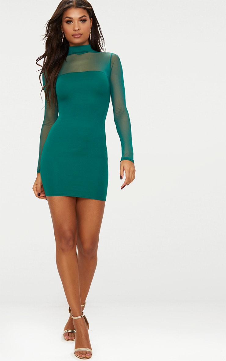 Emerald green High Neck Mesh Panel Bodycon Dress  4