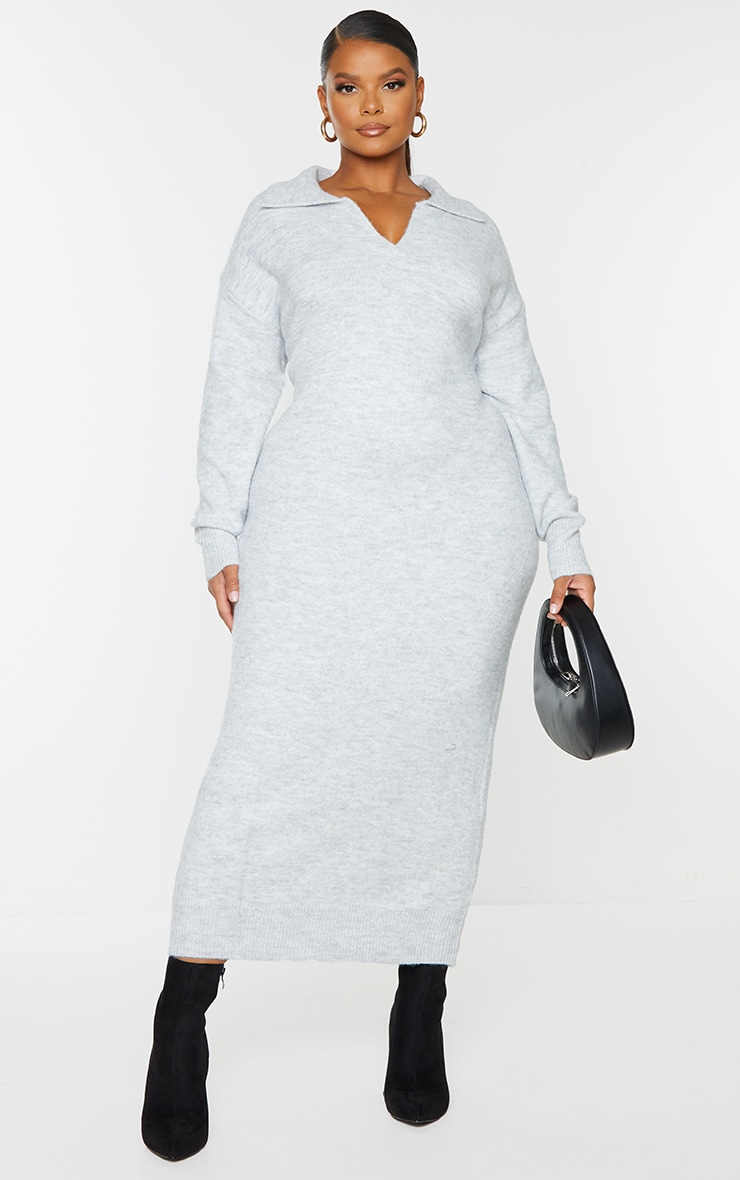 Plus Light Grey Collar Detail Cosy Knitted Midaxi Dress image 1