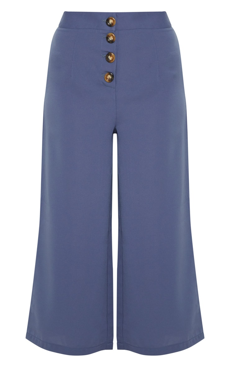 Blue Button Detail Culottes 4