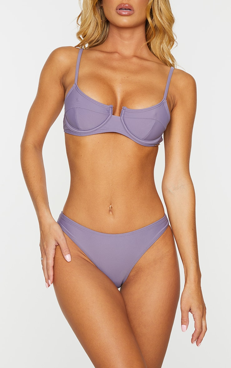 Aubergine Mix & Match Mini Front Bikini Bottoms 1