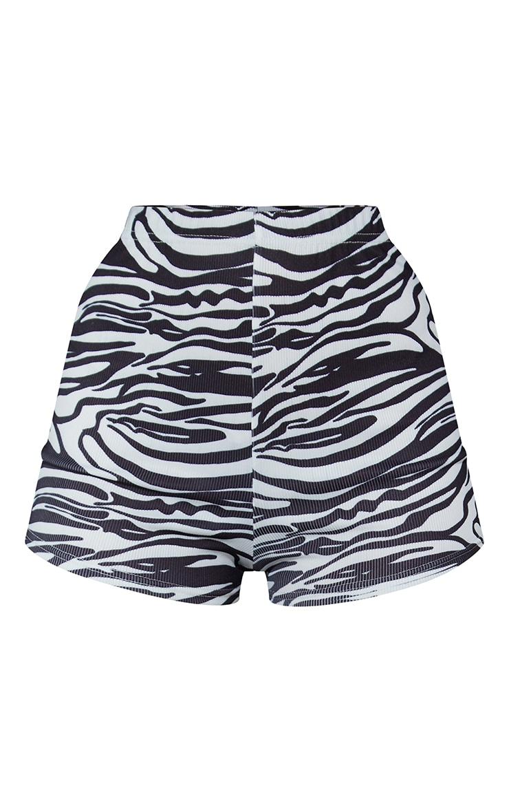 Black Zebra Soft Rib Hot Pants 6
