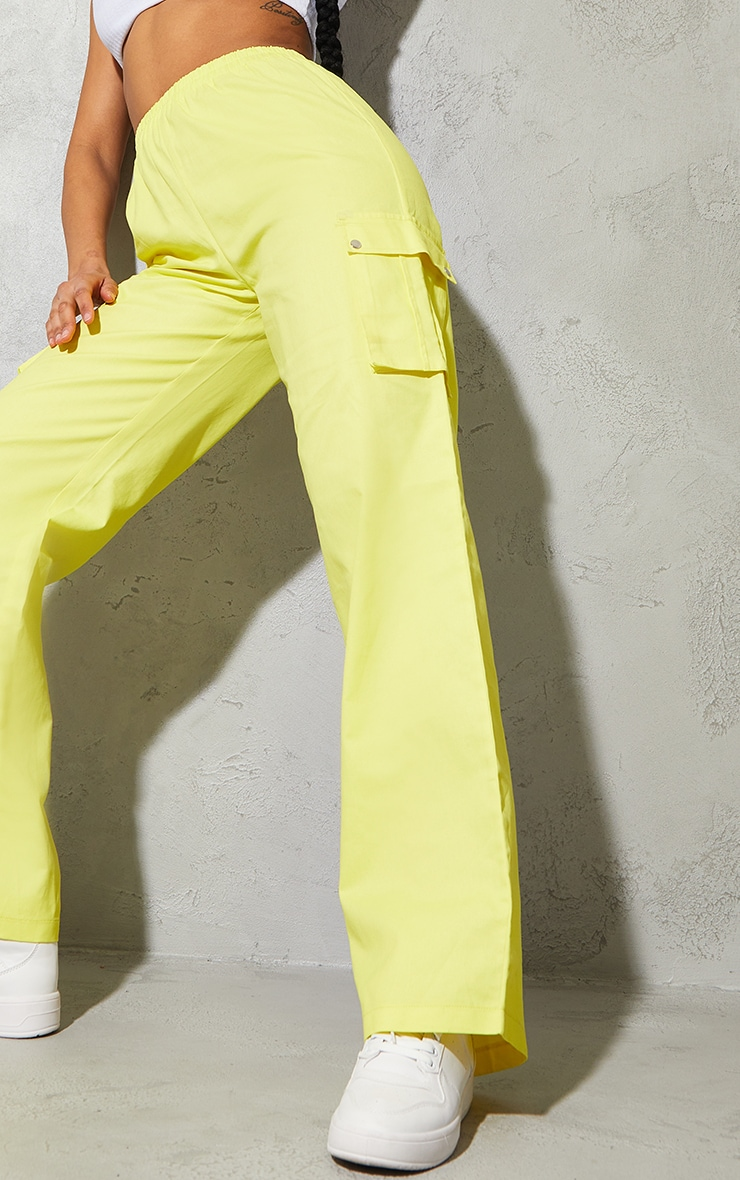 Lemon Yellow Wide Leg Cargo Pants 4