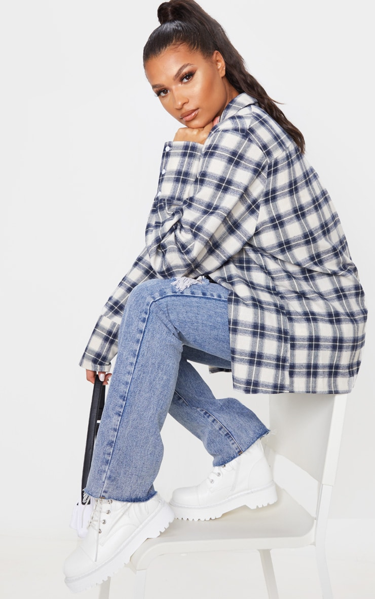 White Checked Flannel Oversized Cuff Shirt 1