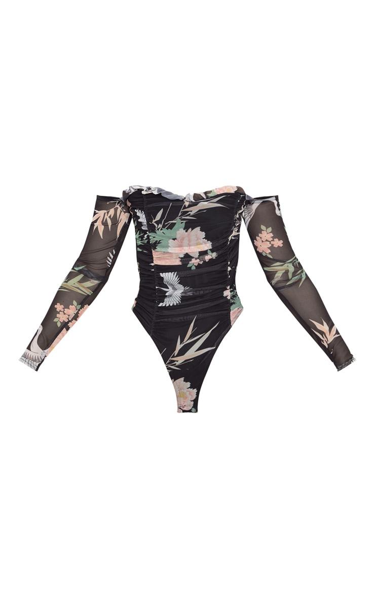 Black Oriental Printed Mesh Ruched Bardot Bodysuit 3