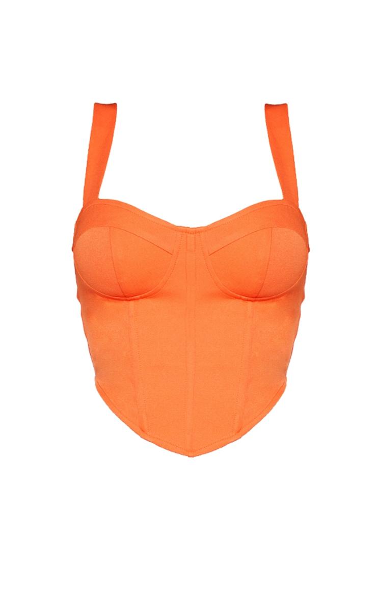 Shape Orange Woven Corset Crop Top 5
