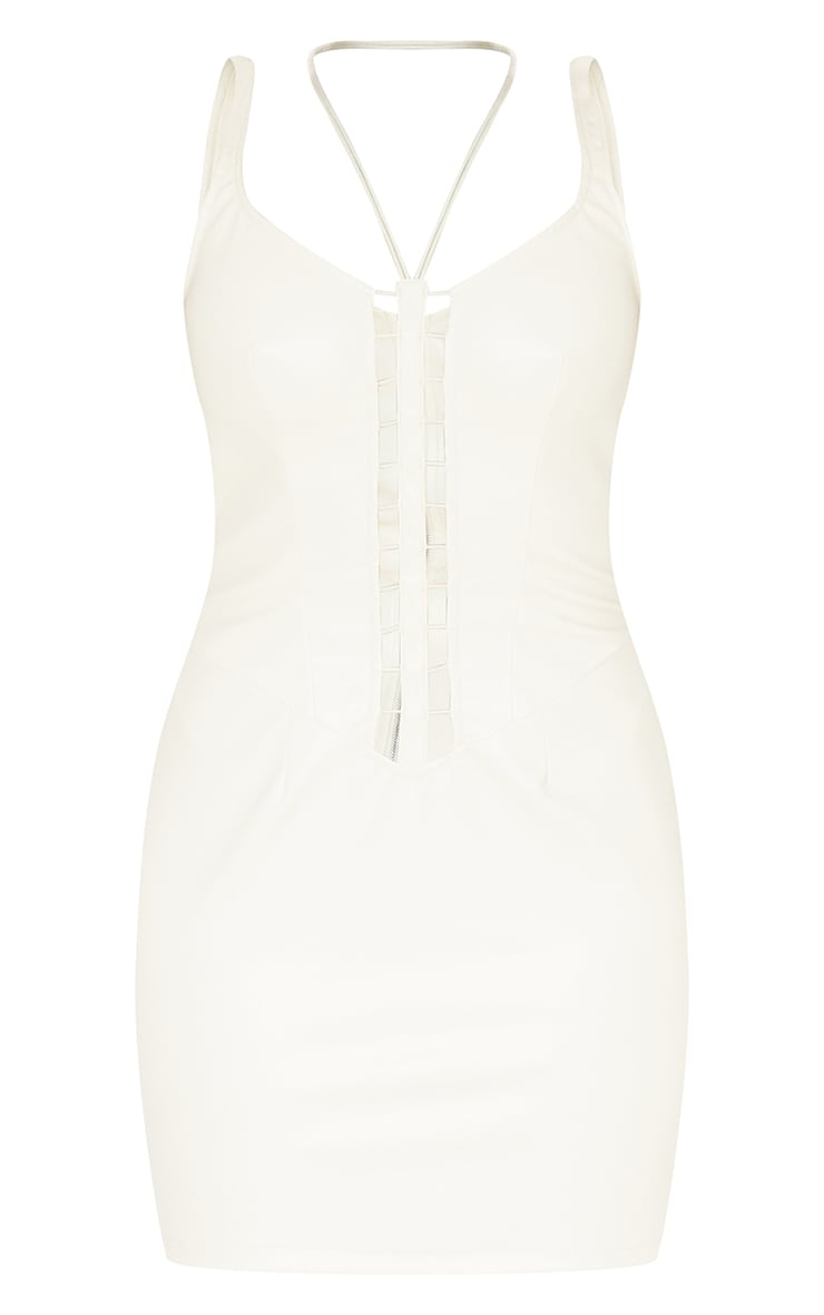Cream PU Sleeveless Lace Up Ladder Detail Bodycon Dress 5