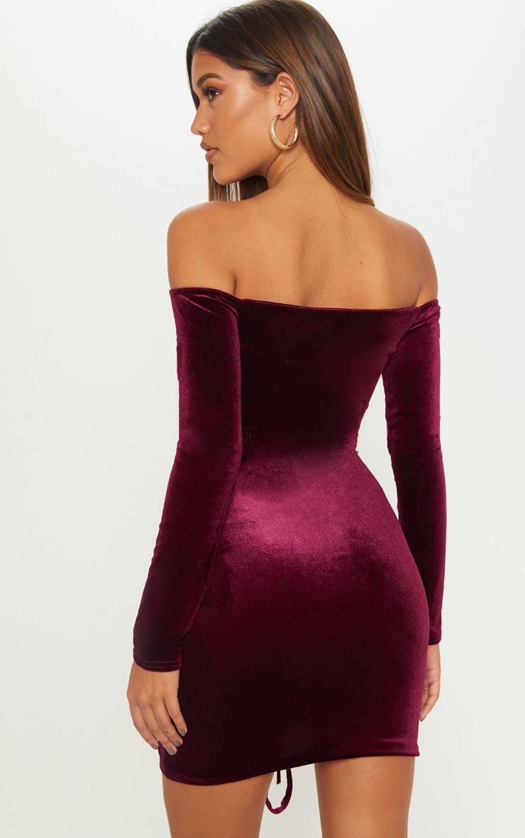 Plum Velvet Bardot Long Sleeve Ruched Bodycon Dress 2