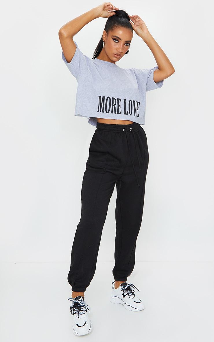 Grey More Love Slogan Crop T Shirt 3