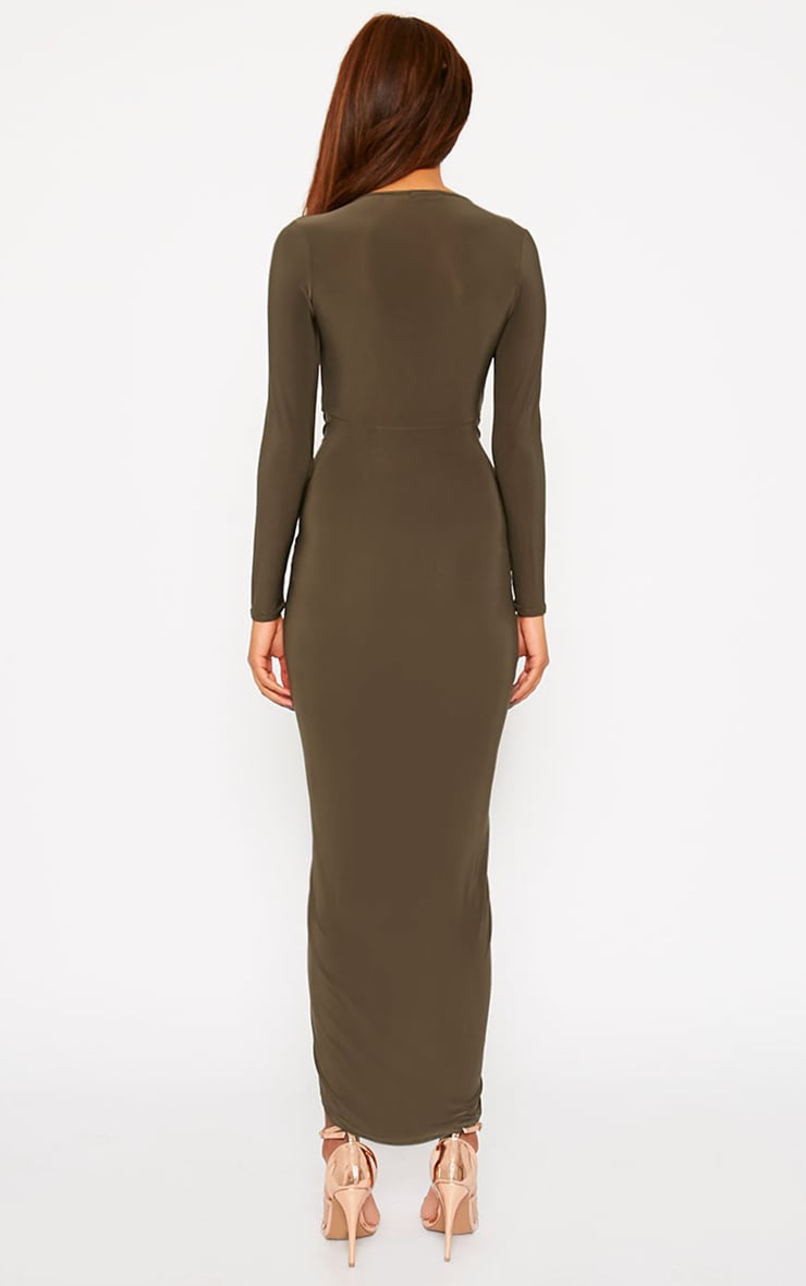 Ellie Khaki Slinky Ruched Maxi Dress 2