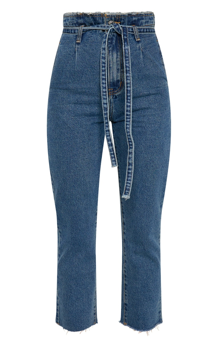 Dark Wash Paperbag Jeans  3