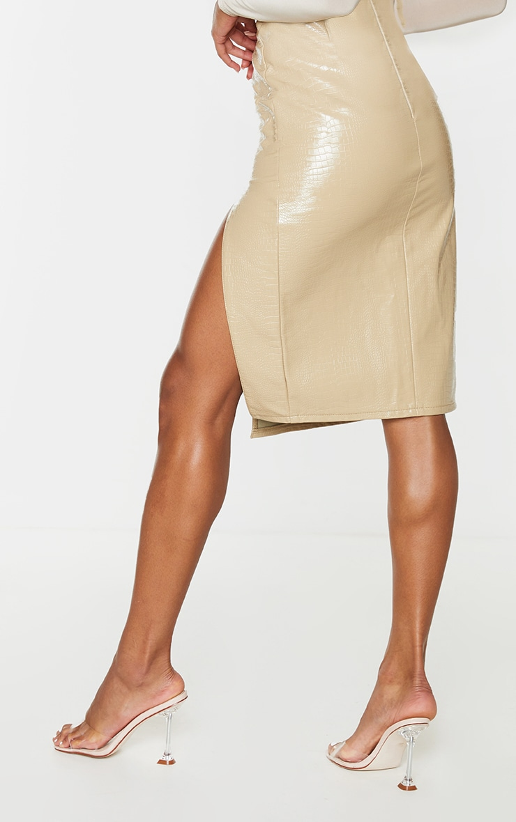 Stone Faux Leather Croc Midi Skirt 3