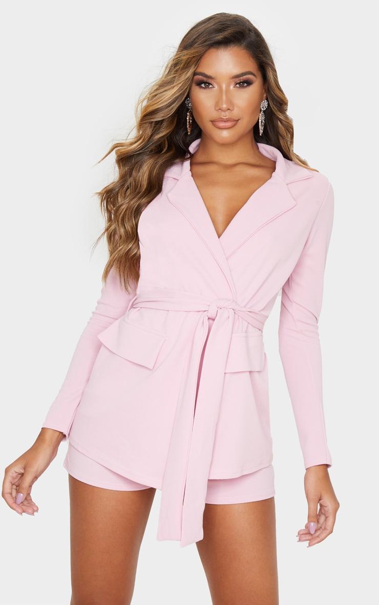 Pink Belted Pocket Detail Blazer 2