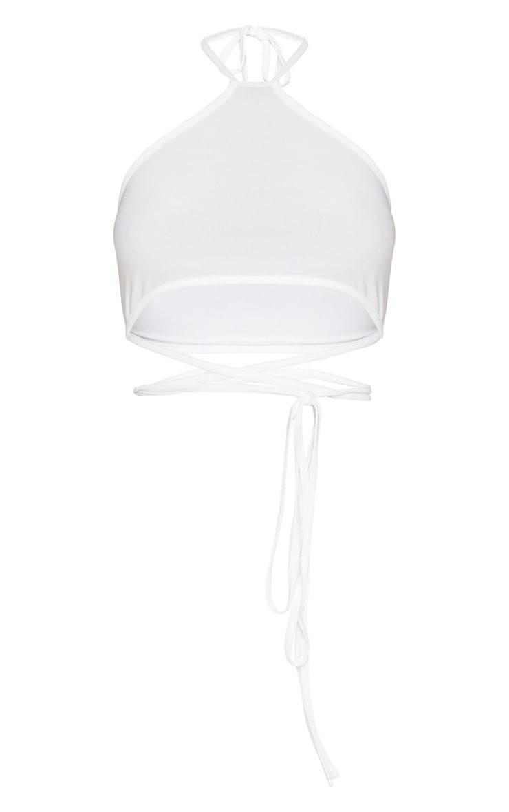 White Slinky Halterneck Tie Waist Crop Top 3