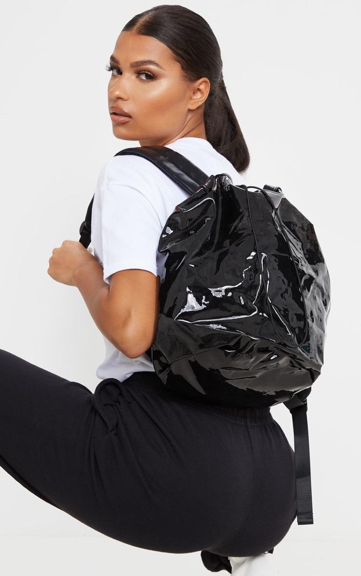 PRETTYLITTLETHING Logo Black Soft Plastic Large Drawstring Backpack 1
