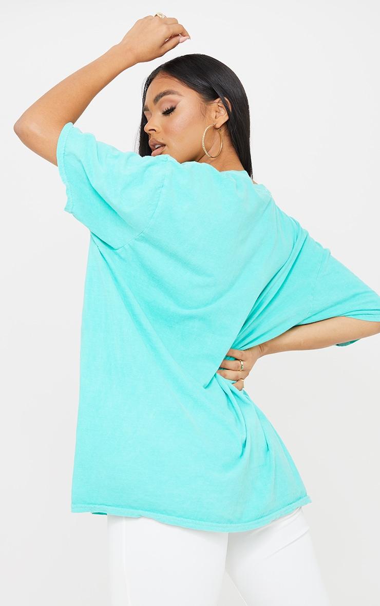 Aqua Blue Health Club Print Washed T Shirt 2