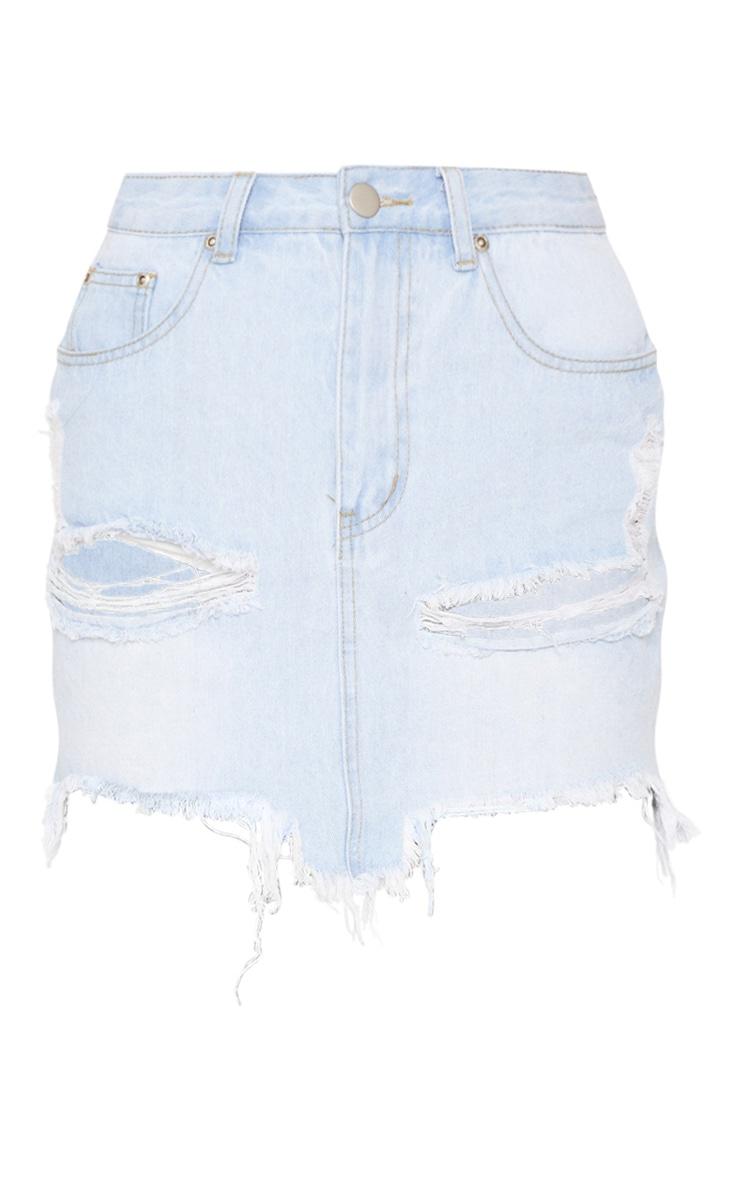 Light Wash Distressed Denim Mini Skirt 3