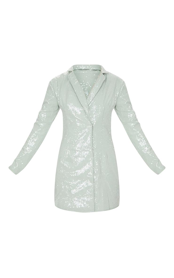 Sage Green Sequin Blazer Dress 5