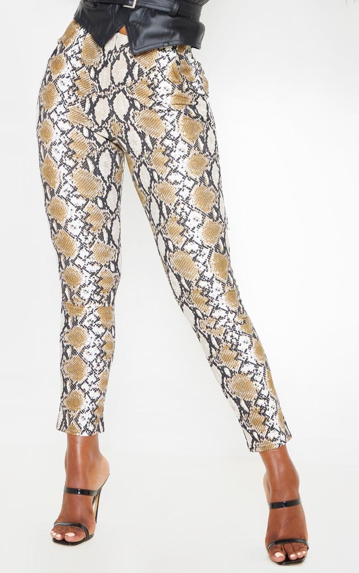 Tan Snake Printed Skinny Trouser 2