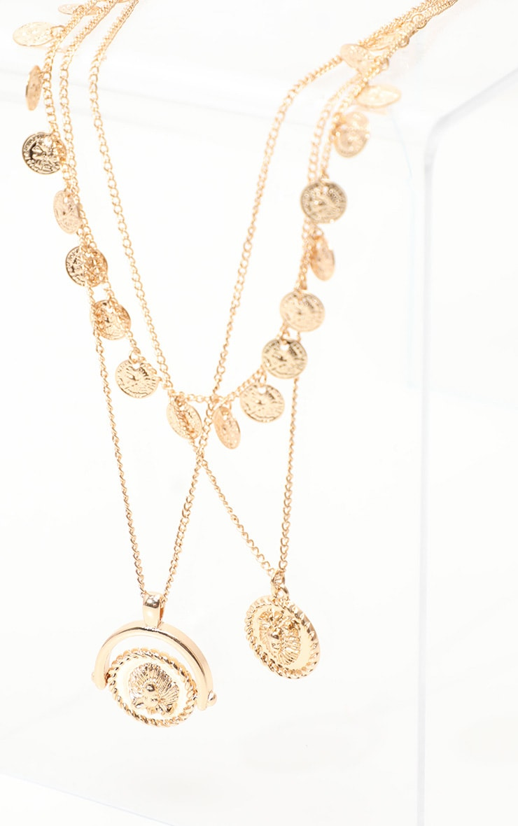 Gold Triple Layer Mini Disc Spinning Charm Necklace 3