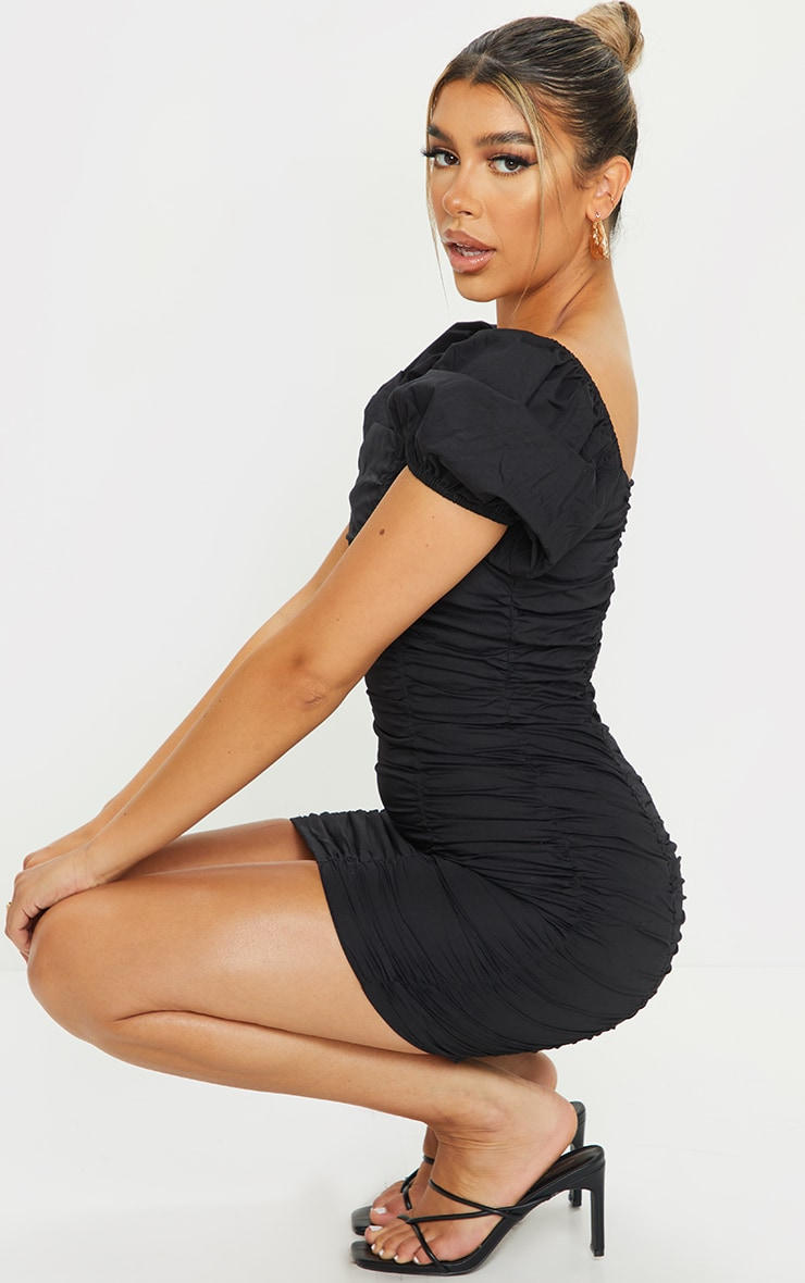 Black Square Neck Ruched Front Short Sleeve Bodycon Dress 3
