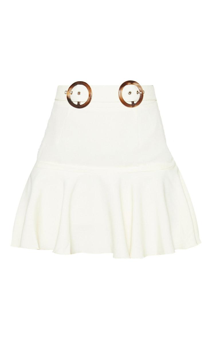 Petite White Peplum Hem Tortoise Belt Skirt 3
