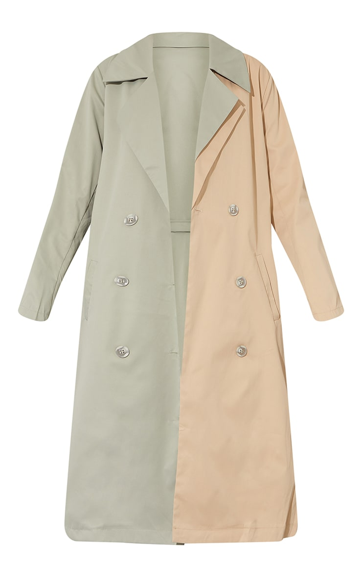 Khaki Woven Contrast Belted Midi Trench 5