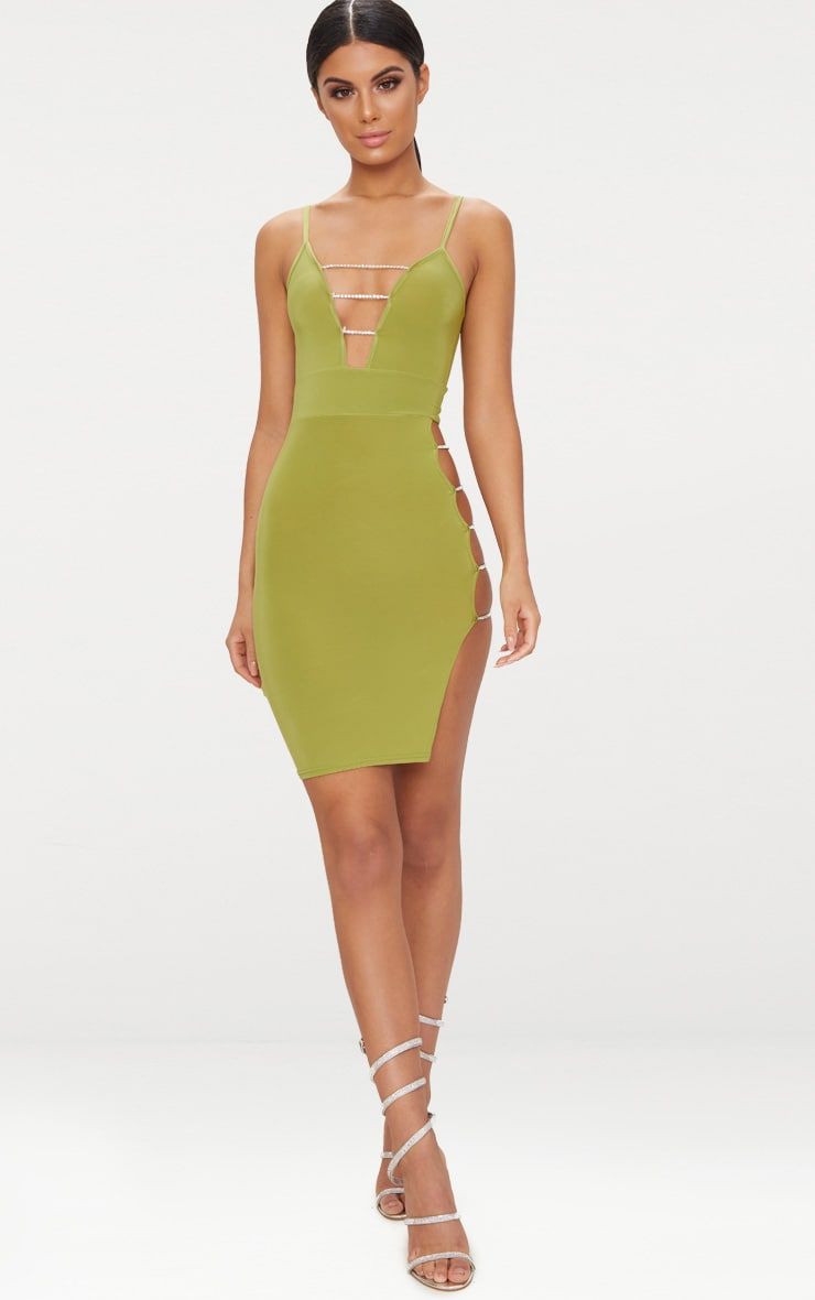 Olive Slinky Extreme Split Diamante Chain Detail Midi Dress 4
