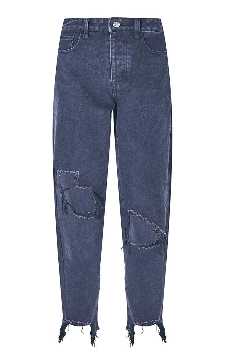 PRETTYLITTLETHING Washed Black Extreme Distressed Hem Boyfriend Jeans 5