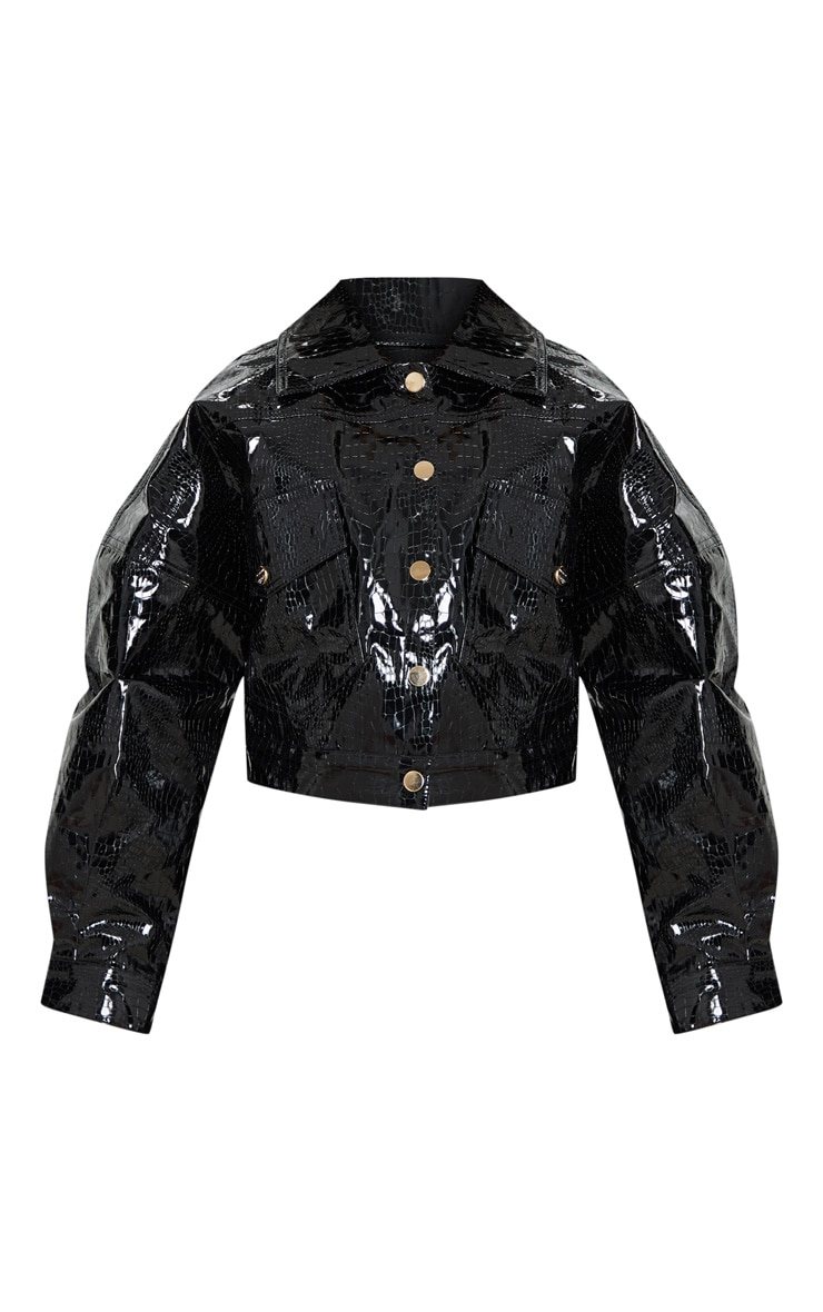 Petite Black Croc PU Trucker Jacket 3