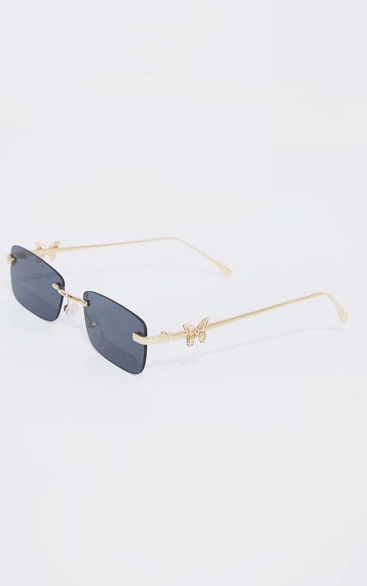 Gold Frame Black Lens Butterfly Sunglasses 3