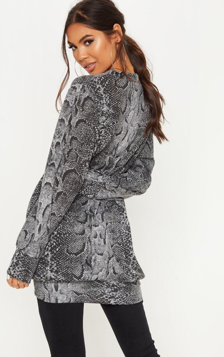 Grey Knitted Snake Print  Oversized Jumper  2