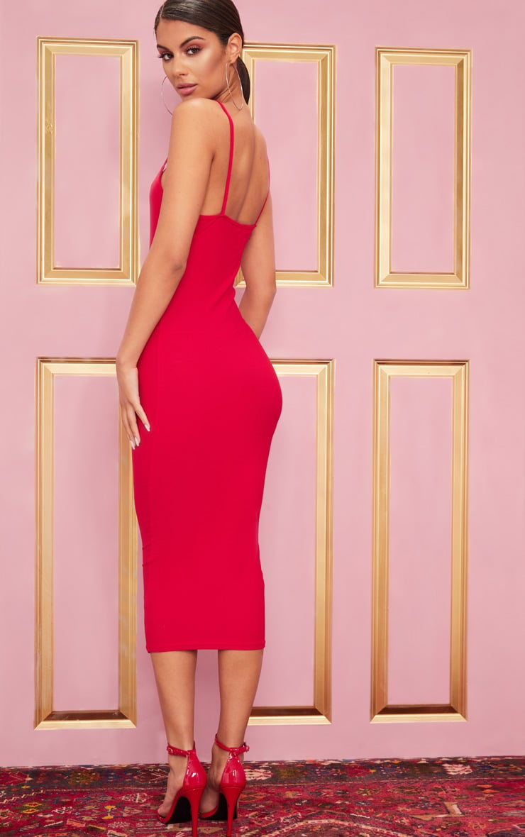 Red Strappy Midi Dress 2