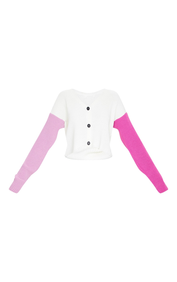 Pink Color Block Button Up Cropped Cardigan 5