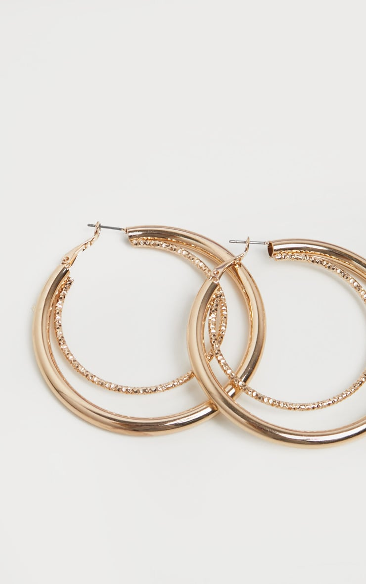 Gold Double Contrast Hoop Earring 2