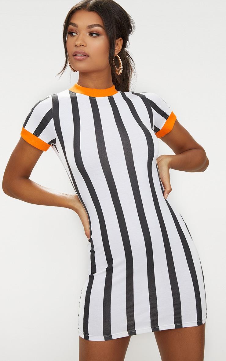 Orange Contrast Stripe Dress 1