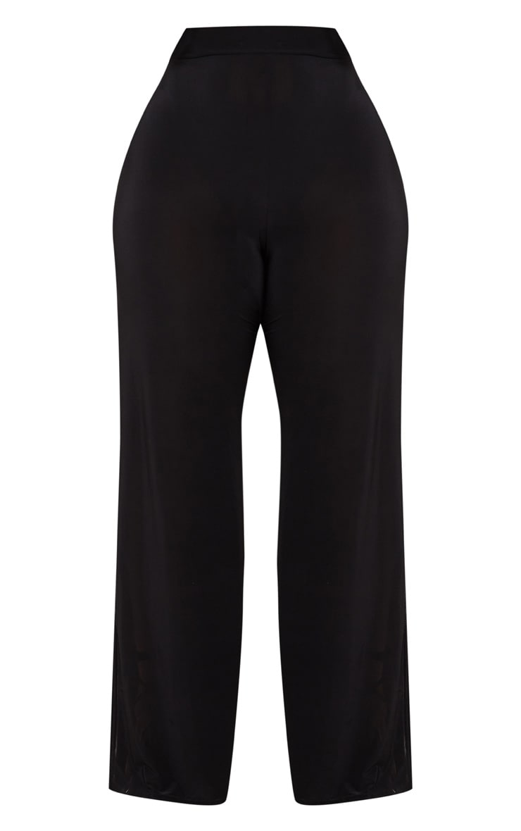 Plus Black Wide Leg Slinky Trousers 3