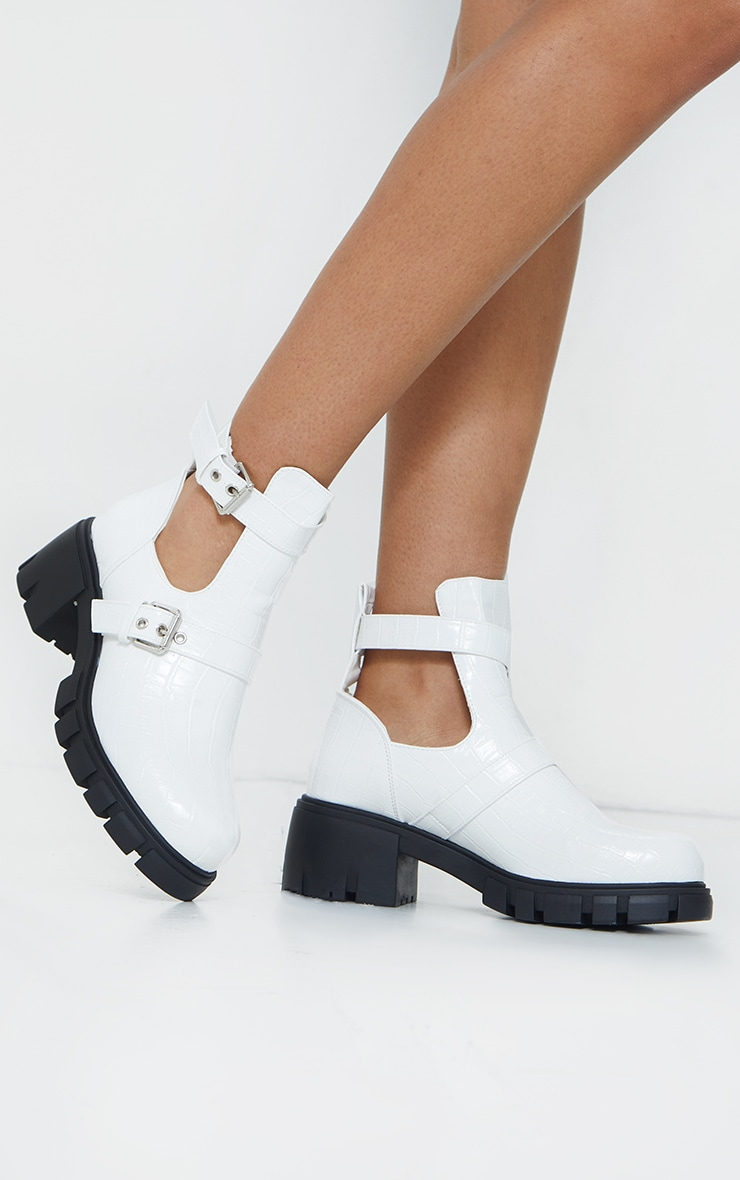White Cut Out Buckle Chunky Boot 2