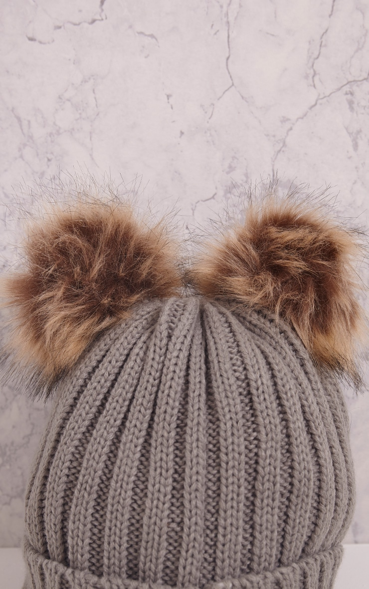 Tilda Grey Knitted Double Pom Pom Beanie 4
