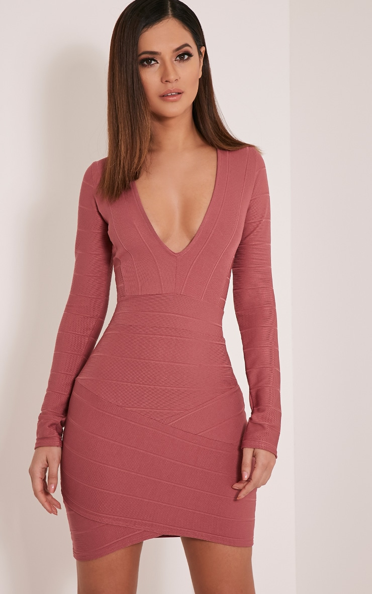 Jeana Rose Bandage Plunge Bodycon Dress 1