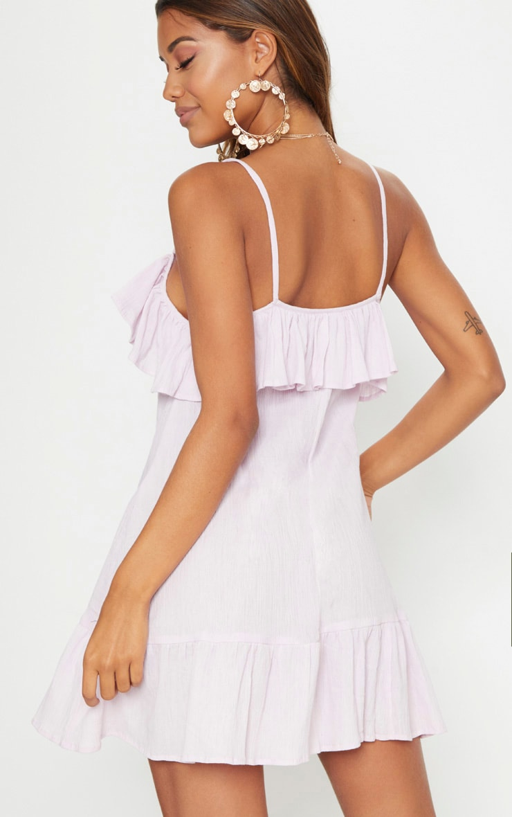Dusty Pink Lace Trim Cheesecloth Smock Dress 2