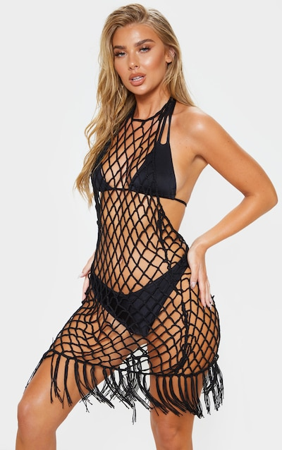 Black Crochet Coverup
