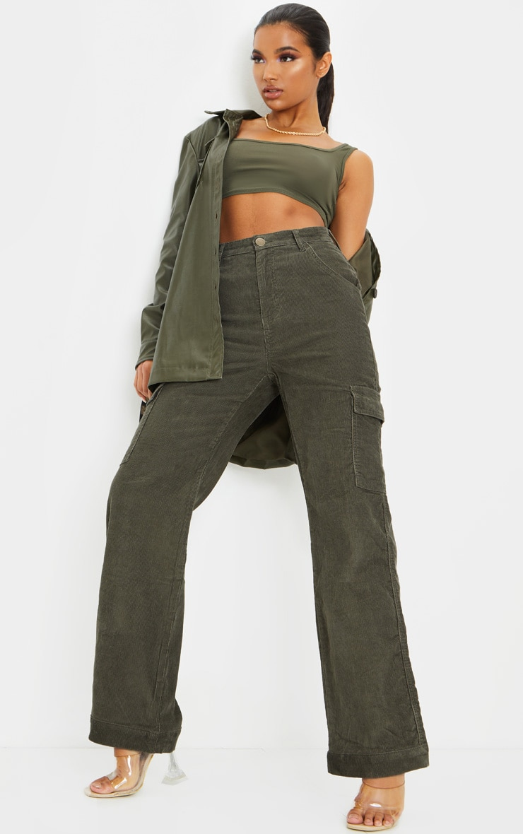 Basic Khaki Scoop Neck Crop Top 3