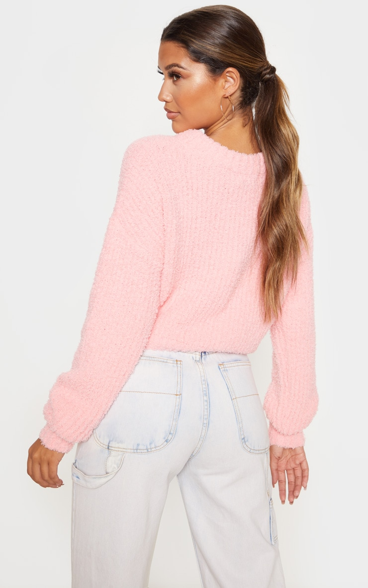 Coral Textured Soft Knit Crop Sweater 2