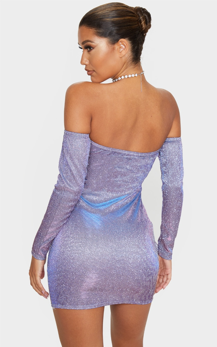 Multi Iridescent Glitter Bardot Bodycon Dress 2