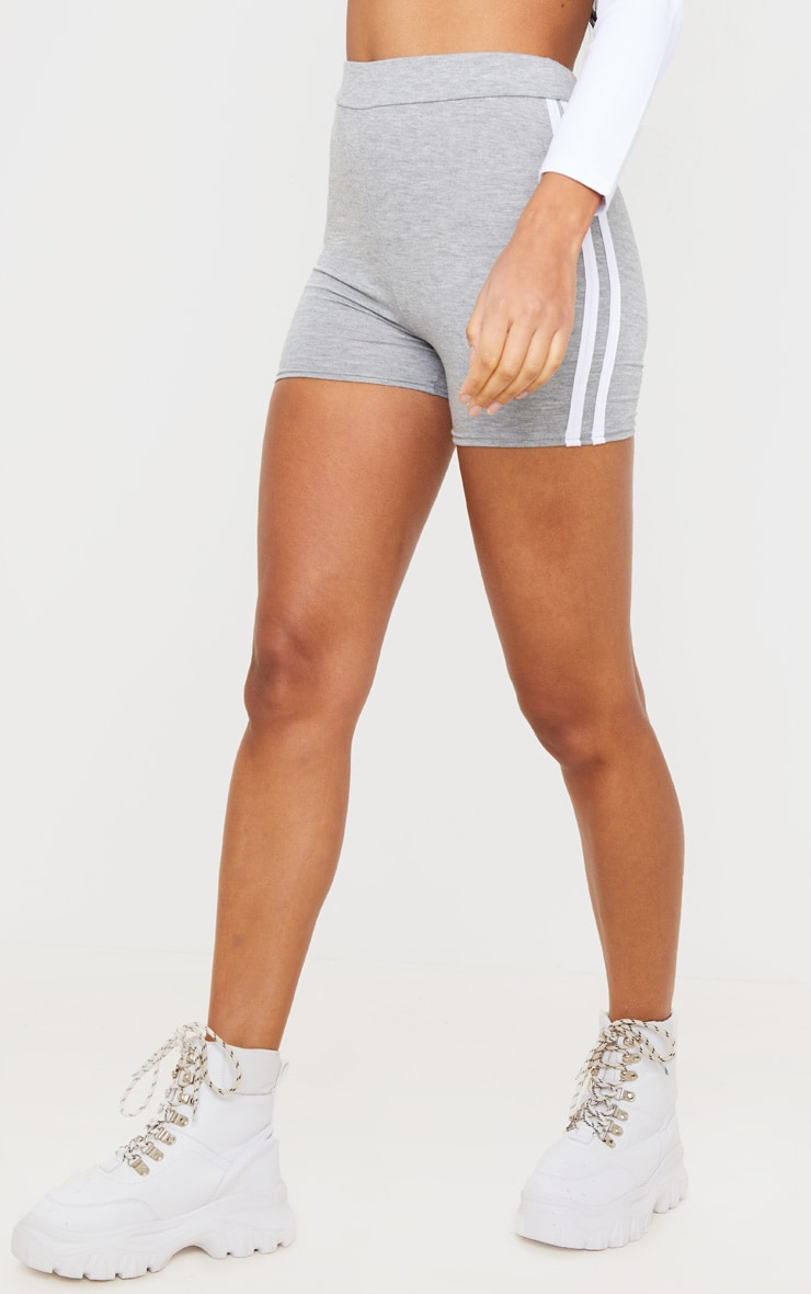 Grey Double Side Stripe High Waisted Shorts 2