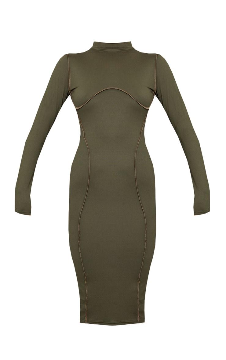 Khaki Contrast Stitch Detail High Neck Long Sleeve Midi Dress 5